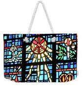 Orange Blue Stained Glass Window Weekender Tote Bag by Thomas Woolworth