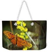 Orange Butterfly On Yellow Wildflower Weekender Tote Bag