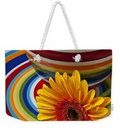 Orange Daisy With Plate And Vase Weekender Tote Bag