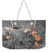 Orange Day Lilies. Weekender Tote Bag by Ausra Huntington nee Paulauskaite