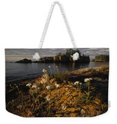 Orange Lichen-covered Rocks At Isle Weekender Tote Bag