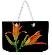 Orange Lily On Black Weekender Tote Bag