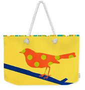 Orange Polka Dot Bird Weekender Tote Bag