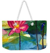 Orchid With Blue Bird Weekender Tote Bag