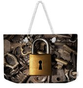 Padlock Over Keys Weekender Tote Bag by Carlos Caetano