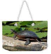 Painted Turtle On Log Weekender Tote Bag