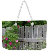 Painterly Fence And Roses Weekender Tote Bag