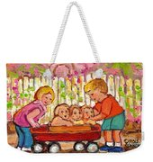 Paintings For Children - Boy - Girl - Red Wagon And Puppies Weekender Tote Bag