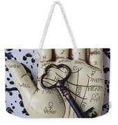 Palm Reading Hand And Key Weekender Tote Bag