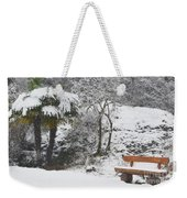 Palm Tree And A Bench With Snow Weekender Tote Bag