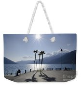Palm Trees With Shadows On The Lakefront Weekender Tote Bag