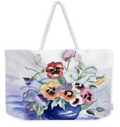 Pansies In Blue Pot Weekender Tote Bag