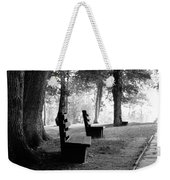 Park Bench In Black And White Weekender Tote Bag