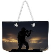 Partially Silhouetted U.s. Marine Weekender Tote Bag by Terry Moore