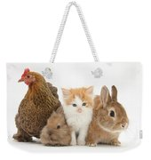 Partridge Pekin Bantam With Kitten Weekender Tote Bag