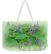 Party Invitation - General - American Beautyberry Shrub Weekender Tote Bag by Mother Nature