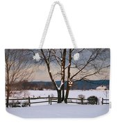 Pastoral View Of A Farm Covered In Snow Weekender Tote Bag