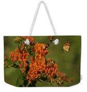 Pearly Crescentpot Butterflies Landing On Butterfly Milkweed Weekender Tote Bag