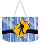 Pedestrian Crosswalk Sign In Business District Weekender Tote Bag by Gary Whitton
