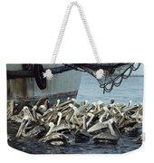Pelicans Float In Water Near A Shrimp Weekender Tote Bag