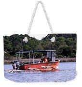 Pelicans Following Boat Weekender Tote Bag