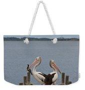 Pelicans On A Timber Landing Pier Mooring Weekender Tote Bag