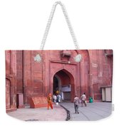 People Entering The Entrance Gate To The Red Colored Red Fort In New Delhi In India Weekender Tote Bag