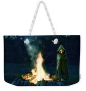 Person Standing By A Bonfire In The Moonlight Weekender Tote Bag