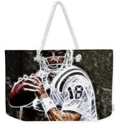 Peyton Manning 18 Weekender Tote Bag by Paul Ward