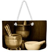 Pharmacy - Mortars And Pestles - Black And White Weekender Tote Bag