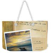 Photo Of Boat On The Sea With Bible Verse Weekender Tote Bag