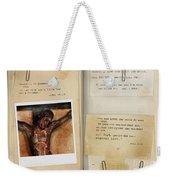 Photo Of Crucifix With Bible Verses. Weekender Tote Bag