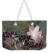 Photo Watercolour Leaf Against Rock Weekender Tote Bag