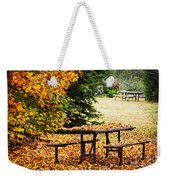 Picnic Table With Autumn Leaves Weekender Tote Bag by Elena Elisseeva