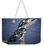 Pied Kingfisher Eating Weekender Tote Bag