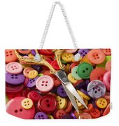 Pile Of Buttons With Scissors  Weekender Tote Bag by Garry Gay