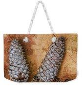 Pine Cones And Leaves Weekender Tote Bag by Deborah Benoit