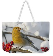Pine Grosbeak Pinicola Enucleator Weekender Tote Bag