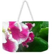 Pink African Violets And Leaves Weekender Tote Bag