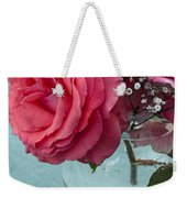 Pink And Aqua Roses Weekender Tote Bag