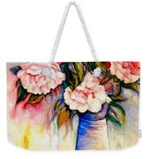 Pink And Red Peony Roses In A Tall Blue Porcelain Vase Weekender Tote Bag
