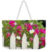 Pink Cosmos Flowers And White Picket Fence Weekender Tote Bag