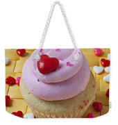 Pink Cupcake With Candy Hearts Weekender Tote Bag