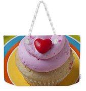 Pink Cupcake With Red Heart Weekender Tote Bag