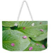 Pink Flower Petals Resting On Dew Weekender Tote Bag