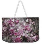Pink Flowering Crabapple And Grunge Weekender Tote Bag