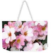 Pink Flowers With Bee Weekender Tote Bag