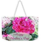 Pink Geranium Greeting Card Mothers Day Weekender Tote Bag