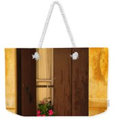 Pink Geraniums Brown Shutters And Yellow Window In Italy Weekender Tote Bag