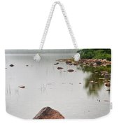 Pink Granite In Jordan Pond At Acadia Weekender Tote Bag by Steve Gadomski